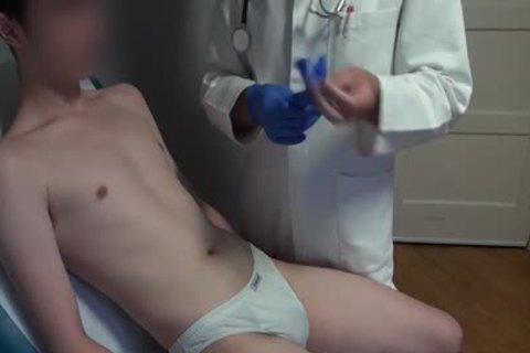 skinny Japanese boy Examined, bald And Deflowered On The Doctors Examination Table. large cream flow.